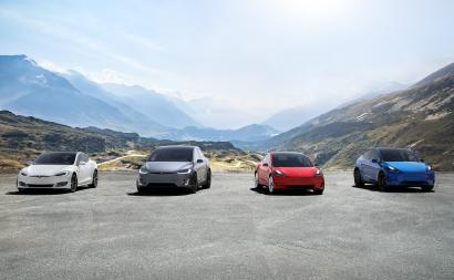 A lineup of Tesla vehicles.