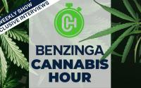 The Benzinga Cannabis Hour logo.
