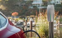 A Tesla vehicle charging.