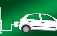 An electric vehicle charging illustration.