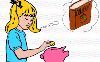 Young girl putting money in piggybank for college.