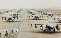 A line of F-16 fighter jets.