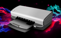 Printer with colorful ink background.