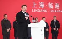 Tesla CEO Elon Musk at the groundbreaking for the Shanghai Gigafactory.