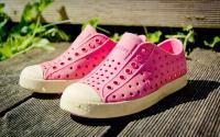 A pair of Crocs shoes.