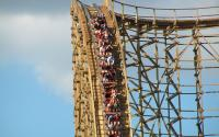 A Six Flags rollercoaster.