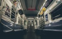 An empty subway car.