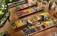 The produce section at a grocery store.