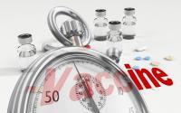 Vaccine bottles, clock ticking.