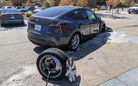 Tesla Model Y wheel gets ripped off: See the video.