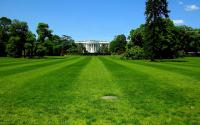 A wide-angle view of the White House.