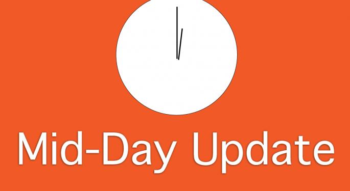 Mid-Day Market Update: Auxilium Drops On Weak Sales, Conceptus Surges