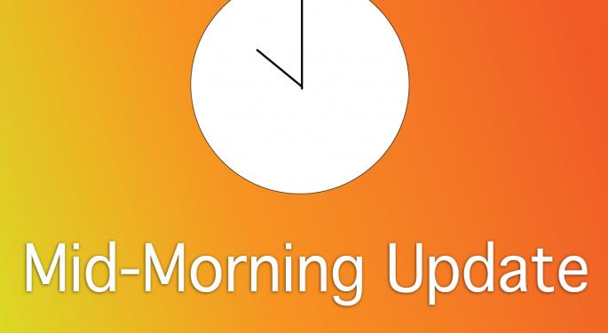 Mid-Morning Market Update: Markets Rise, Greenbrier Posts Downbeat Revenue