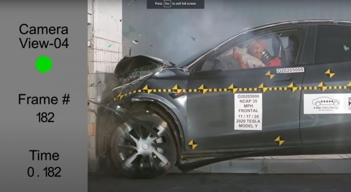 Tesla Model Y Crash Test Video Shows Why It Received 5 Star Safety In All Categories