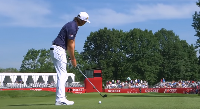 Video: Rickie Fowler Holes Out In First Day Of Rocket Mortgage Classic