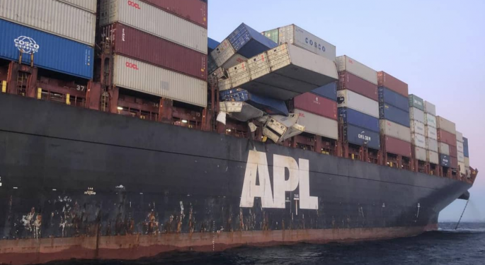 Forty Containers Fall Off APL England
