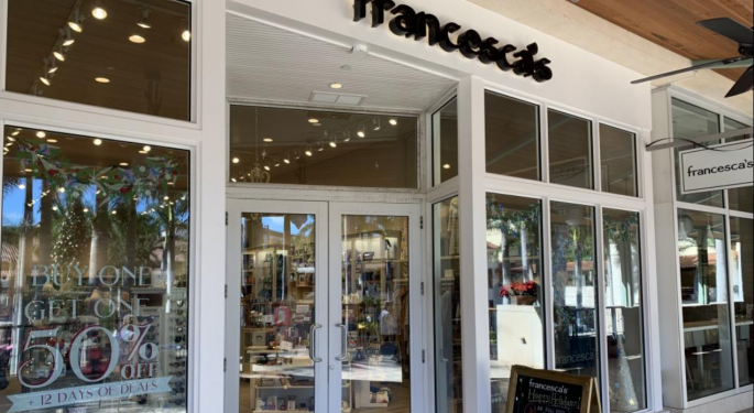 Why Francesca's Stock Is Trading Lower Today