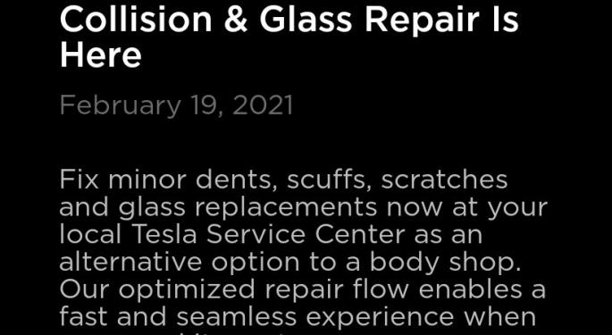 Tesla Offers Customers New Option For Collision, Glass Repair Via Tesla App