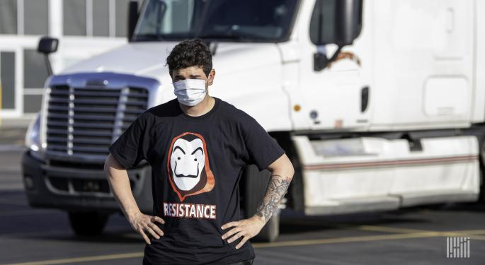 Independent Truckers Stage Rally Along Houston Freeway To Protest Low Pay